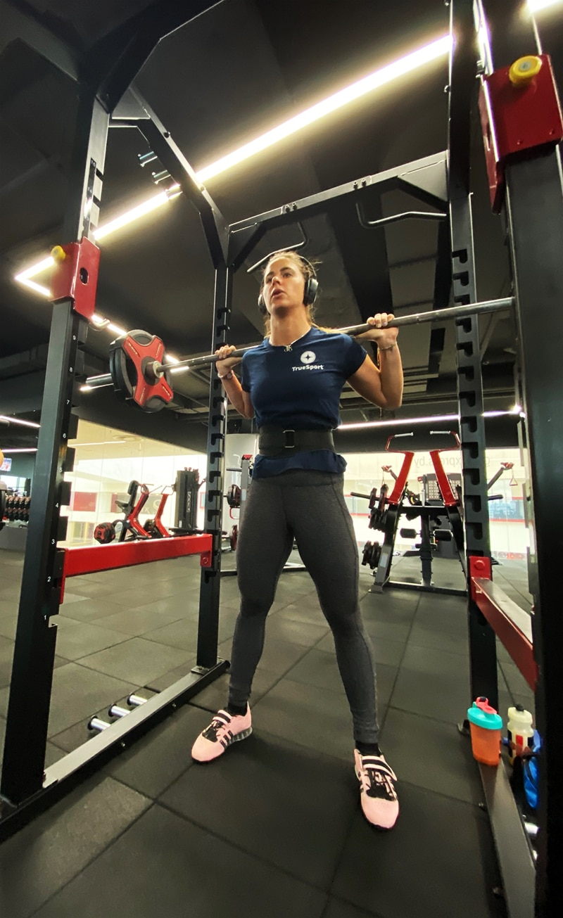 sponsored track cyclist Mandy Marquardt working out in gym